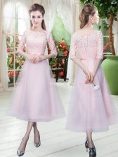 Fantastic Baby Pink Lace Up Dress for Prom Half Sleeves Ankle Length Belt