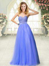 Sweetheart Sleeveless Zipper Prom Dress Blue Tulle