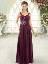 Artistic Beading and Ruching Evening Dress Burgundy Lace Up Sleeveless Floor Length