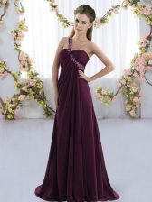 Perfect Dark Purple Empire Chiffon One Shoulder Sleeveless Beading Lace Up Dama Dress Brush Train