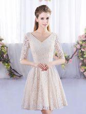V-neck Half Sleeves Damas Dress Mini Length Lace Champagne