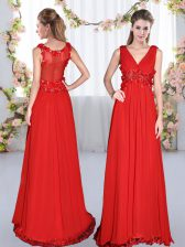 Sleeveless Chiffon Floor Length Side Zipper Court Dresses for Sweet 16 in Red with Beading and Appliques