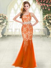 Colorful Orange Red Zipper Prom Dresses Beading and Lace Sleeveless Floor Length