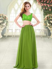 Olive Green Two Pieces Straps Sleeveless Chiffon Floor Length Zipper Beading and Lace Homecoming Dress