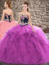 Sleeveless Tulle Floor Length Lace Up 15 Quinceanera Dress in Purple with Beading and Embroidery