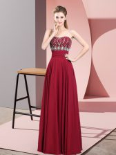 Unique Chiffon Strapless Sleeveless Zipper Beading Dress for Prom in Red
