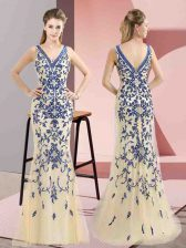 Champagne Prom Gown Prom and Party and Military Ball with Beading V-neck Sleeveless Zipper