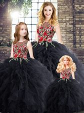 Pretty Black Sweet 16 Quinceanera Dress Military Ball and Sweet 16 and Quinceanera with Embroidery and Ruffles Scoop Sleeveless Zipper