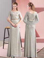 Suitable Floor Length Grey Half Sleeves Belt
