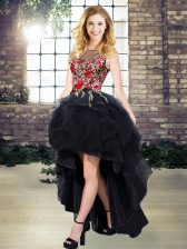 Black A-line Organza Scoop Sleeveless Embroidery High Low Lace Up Prom Party Dress