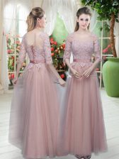 Custom Fit Tulle Half Sleeves Floor Length Evening Dress and Lace