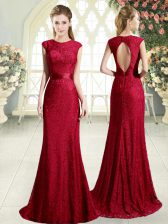 Cute Scoop Sleeveless Evening Dress Sweep Train Lace Red