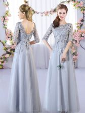 Grey Damas Dress Prom and Party and Wedding Party with Lace Scoop Half Sleeves Lace Up