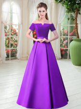 Sweet Satin Off The Shoulder Short Sleeves Lace Up Belt Dress for Prom in Purple