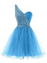 Excellent Blue Sleeveless Mini Length Beading Lace Up Evening Dress