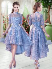 High-neck Half Sleeves Lace Up Appliques Prom Party Dress in Blue