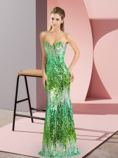 Sleeveless Floor Length Prom Gown and Sequins