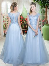 Cute Light Blue Tulle Lace Up Dress for Prom Cap Sleeves Floor Length Lace