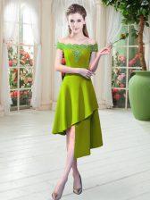 Delicate Off The Shoulder Sleeveless Zipper Prom Dresses Light Yellow Satin