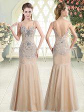 Champagne Sleeveless Floor Length Beading Zipper Homecoming Dress