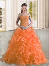 Trendy Orange Off The Shoulder Neckline Beading and Lace and Ruffles 15 Quinceanera Dress Sleeveless Lace Up