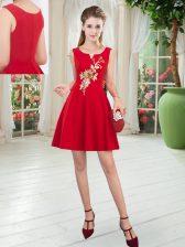 Sexy Red Satin Zipper Prom Dresses Sleeveless Mini Length Appliques