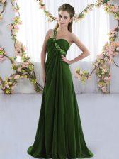 Olive Green Lace Up Quinceanera Dama Dress Beading Sleeveless Brush Train