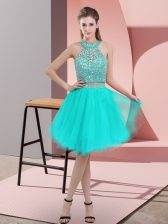 Turquoise Organza Backless Halter Top Sleeveless Knee Length Prom Dresses Beading