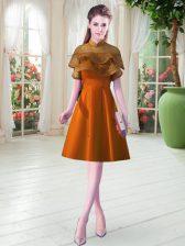 Elegant Knee Length Orange Prom Dresses Satin Cap Sleeves Lace