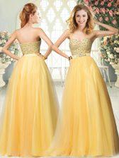 Wonderful Tulle Sleeveless Floor Length Evening Dress and Beading