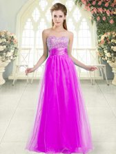 Hot Sale Purple A-line Sweetheart Sleeveless Tulle Floor Length Lace Up Beading Prom Gown