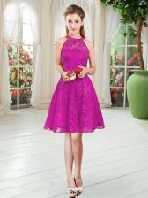 Sleeveless Knee Length Zipper Prom Evening Gown in Fuchsia with Lace