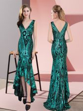 High End Sleeveless High Low Ruching Zipper Prom Evening Gown with Green