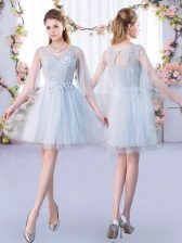 Classical Grey A-line Tulle Scoop 3 4 Length Sleeve Lace Mini Length Lace Up Quinceanera Dama Dress