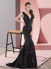 Shining Black Evening Dress Sequined Sweep Train Sleeveless Beading