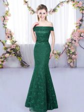 Vintage Dark Green Sleeveless Lace Up Quinceanera Dama Dress for Prom and Party and Wedding Party