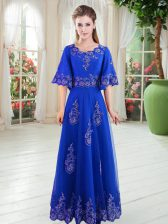 Exquisite Half Sleeves Floor Length Lace Lace Up with Royal Blue
