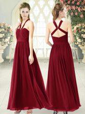 Floor Length Burgundy Evening Dress Halter Top Sleeveless Backless