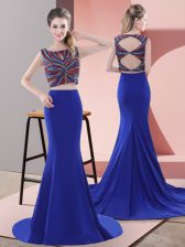 Designer Royal Blue Lace Up Beading Sleeveless Sweep Train