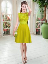 Glamorous Lace Prom Evening Gown Gold Zipper Sleeveless Knee Length