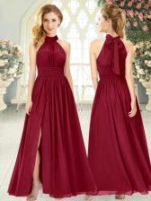 Extravagant Chiffon Halter Top Sleeveless Zipper Ruching Homecoming Dress in Wine Red