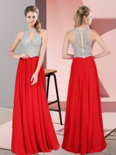 Best Selling Sleeveless Satin Floor Length Zipper Evening Dress in Red with Beading and Lace