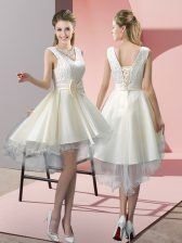 Sleeveless Tulle High Low Lace Up Prom Evening Gown in White with Lace and Bowknot