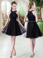 Belt Homecoming Dress Black Zipper Sleeveless Mini Length