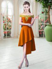 Great Orange Satin Zipper Prom Party Dress Sleeveless Asymmetrical Appliques
