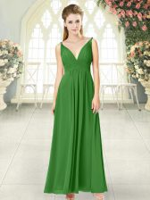 Eye-catching Sleeveless Ankle Length Ruching Backless Prom Dresses with Green