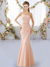 Peach Lace Lace Up Sweetheart Sleeveless Floor Length Quinceanera Dama Dress Beading