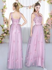 Ideal Beading and Appliques Damas Dress Lavender Lace Up Sleeveless Floor Length