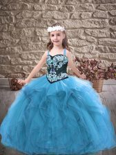 High Quality Floor Length Ball Gowns Sleeveless Baby Blue Evening Gowns Lace Up