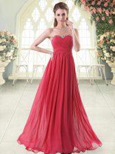 Sleeveless Chiffon Floor Length Zipper Evening Dress in Red with Beading